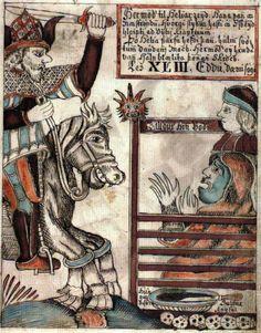 Hela in an illustration from the 1760 manuscript of Saemundar Edda og Snorra Edda by Olafur Brynjulfsson