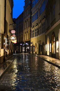 Karlova on a rainy evening, Prague, Czech Republic