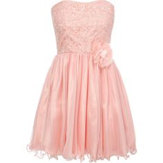 Coral Lace Bodice Prom Dress ($49) ❤ liked on Polyvore