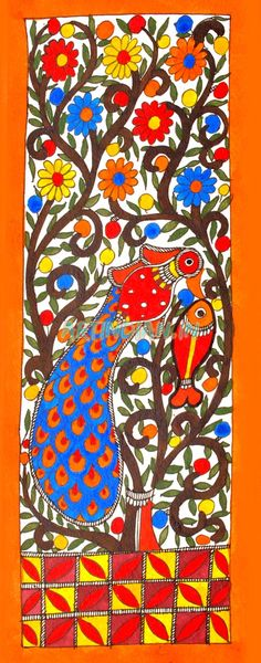 Delightful Imagery of peacock Madhubani Art, Madhubani Painting, Mural Art, Wall Murals, Wall Art, Peacock Painting, Fabric Painting, Traditional Paintings, Traditional Art