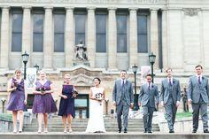 Soldiers & Sailors Memorial Hall & Museum | Pittsburgh Wedding Venue | Wedding Ceremony & Reception | Historic Wedding | August Wedding | Matt & Eve | purple and gray wedding | Photos by Nicole Jarock | Bridal Party