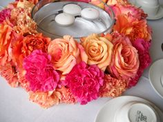 pink and coral ring of flowers