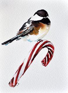 ORIGINAL aquarelle Mésange carte de vœux, Illustration de Noël, Candy Cane 4 x 6 pouces
