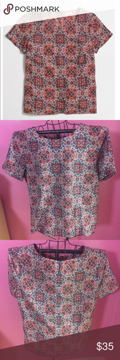 Jcrew printed blouse xxl Brand new with tags and extra button J. Crew Tops Blouses
