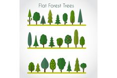 Flat Forest Trees by Elvetica Illustration on @creativemarket