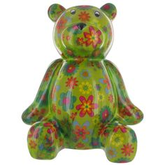 Pomme Pidou Large Bear Animal Money Bank - Green