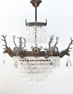 French antiques by legacy antiques dallas antiques antique stag head chandelier by the vintage chandelier company aloadofball Choice Image
