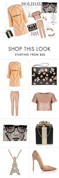 """#holidaystyle Leather Pants"" by rockingmother ❤ liked on Polyvore featuring Valentino, Marni, Glamorous, iCanvas, Kate Spade, Christian Louboutin, Astley Clarke, Rika and holidaystyle"