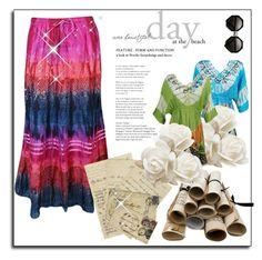 Holiday Fashion by boho-chic-2 on Polyvore featuring Branca, maxiskirt, top, gypsyskirt and bohemianskirt