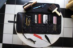 Cuero peluquero herramienta roll