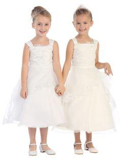 Flower Girl Dresses #TT5552W : Elegant Organza Dress w/ Lace Trimmed Bodice & Skirt w/ Rhinestone Decorated Girl Dress