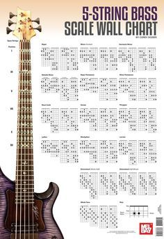Bass Scale Wall Chart Mel Bay Publications, Inc. Bass Guitar Scales, Bass Guitar Chords, Bass Guitar Lessons, Guitar Chord Chart, Guitar Tabs, Music Guitar, Acoustic Guitar Notes, Music Theory, Mandolin Songs