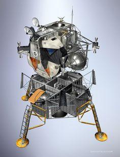Apollo XI, fuel tanks, Lunar Module & Command Module and Service Module by David Teixidor Spaceship Interior, Spaceship Design, Project Gemini, Lunar Lander, Apollo Space Program, Apollo Missions, Space Rocket, Space Station, Space Shuttle