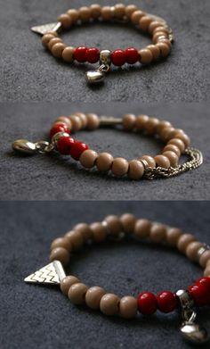 Bracelet - heart and beads