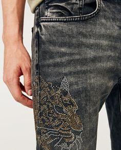 Image 5 of BEJEWELLED JEANS from Zara Rhinestone Transfers, Custom Shower Curtains, Zara, Denim, Model, Pants, Jackets, Outfits, Street