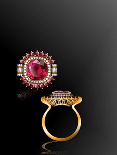 call me ring..haha/////// pink toumaline set with diamond in IN 18K gold design by632002261@qq.com