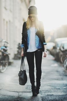 white tank, chambray shirt, black jacket, black jeans, ankle boots, black toque