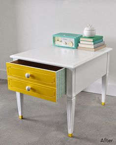 Before and After: A Vintage Side Table Gets a Colorful DIY Makeover » Curbly | DIY Design Community