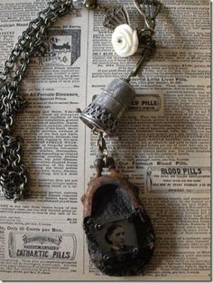 Altered thimble and coin purse necklace by Jen Crossley – A Mark In Time