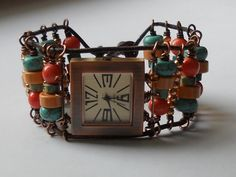 Colorful beaded leather watch by SunshinesPush on Etsy, $64.00