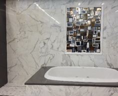 Calacatta Vignette I Panel: Glass Mosaic