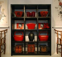 Large, handsome black lacquer display shelf is perfect for your library or displaying art & precious collections. Works well as a room divider or headboard.