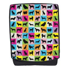 Cute and Colorful Dog Silhouettes Patchwork Backpack - dog puppy dogs doggy pup hound love pet best friend