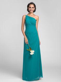 Floor-length Chiffon Bridesmaid Dress - Jade Plus Sizes / Petite Sheath/Column One Shoulder - USD $89.99