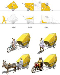 This simple post-disaster home designed by Encore Heureux to be pulled along by a person or hitched to a bike.