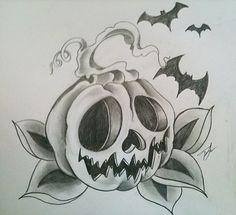 pumpkin and bats by lilmrsfrankenstein.deviantart.com on @deviantART