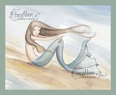 Sea Star Mermaid Print from Original Watercolor Painting by Camille Grimshaw