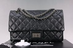 73efb7aa9530fe Timeless Luxuries - CHANEL Black Aged Calf 2.55 Reissue 225 Flap Bag  Ruthenium Hw