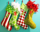 Christmas Stocking, Personalized, Family Stockings, Whimsical, Colorful, Fun. $110.00, via Etsy.