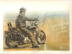 Einar Sigstad   Motiv27 x25,5 cm   Innrammet46 x52,7 cm   Grafikk, tresnitt   Opplag50   5% kunstavgift inkludert i prisen   ... Route 66, Kunst