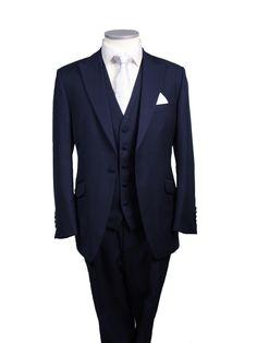 navy suit/waistcoat white tie