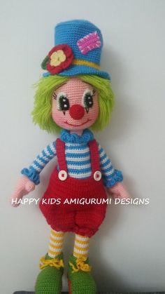 CUTE MR. CLOWN-2-Amigurumi Crochet Pattern por HappyKidsAmigurumi