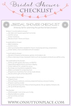 Handy Printable Checklist To Help Plan The Perfect Bridal Shower From Onsuttonplace