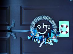 wreath for baby boy, use attached sign to put name and time born for Hospital door