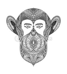 Tribal Monkey Black And White Ornament Faces Wild Beast Of The Forest Monkeys Ornamental Lace Design Page For Adult Coloring Books