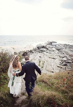 Beautiful shot of fall wedding in New Harbor, Maine. Cuppa Photography