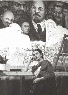 Frida with a Diego Rivera mural on her background, and Marx, Engels, Lenin, Rosa Luxembourg...