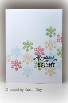 Cardstock is White Daisy, CTMH; Inks are Holiday Red, Creme Brulee, Pear, Black & Sky, CTMH; Stamp set is Merry & Bright, Verve. Karen's Creations: CASE Study Challenge #141