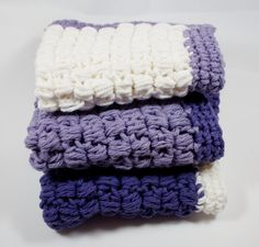 3 Purple Wash Cloths  set of wash cloths crocheted by WizardAtWork, $15.00