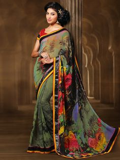 197c9a2545 G3 fashions Grey georgette printed saree Products code: G3-WSA2259 Price: ₹  2350.00