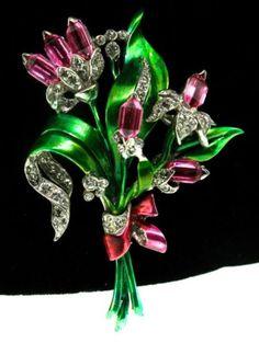 1940's Pennino Fuchsia Glass Metallic Enamel Rhinestone Floral Figural Brooch Pin