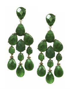 Fabulous faceted teardrop-cut aventurine make these chandelier earrings elegant and envy-worthy.