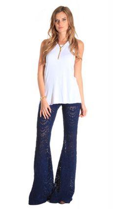 NIGHTCAP CLOTHING SPANISH FAN LACE PANT MIDNIGHT $198- CALL SPLASH TO ORDER 314-721-6442