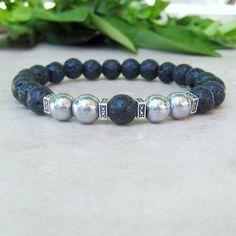 Black Lava and Hematite Mala Bracelet, Healing Yoga Prayer Bracelet, Spiritual Bracelet, Calming Bracelet, Black Gray, Tibetan Jewelry