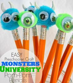 Echoes of Laughter: Monsters University Pom Pom Pencils (Craft) Cute Crafts, Craft Stick Crafts, Preschool Crafts, Craft Ideas, Kid Crafts, Monster University Crafts, Mike And Sully, Pen Toppers, Pencil Crafts