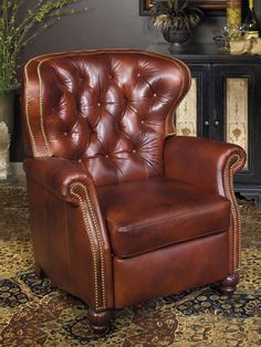 """Bradington young:  Bastien 3 way recliner with brass nails. #3828  Seat Dimensions:W 23"""" x D 24"""" x H 22""""  Arm Height:27""""  Seat to Back Height:21""""  Distance from Wall to Full Recline:19""""  Chair In Full Recline:68""""  Standard Cushion*:HR FOAM  Pillow Type:TUFTED  Power Recline Option:YES Standard Nail*:NATURAL #9 No Nail Option:AVAILABLE W 38"""" x D 38"""" x H 43"""" Ship Weight:134 lbs."""
